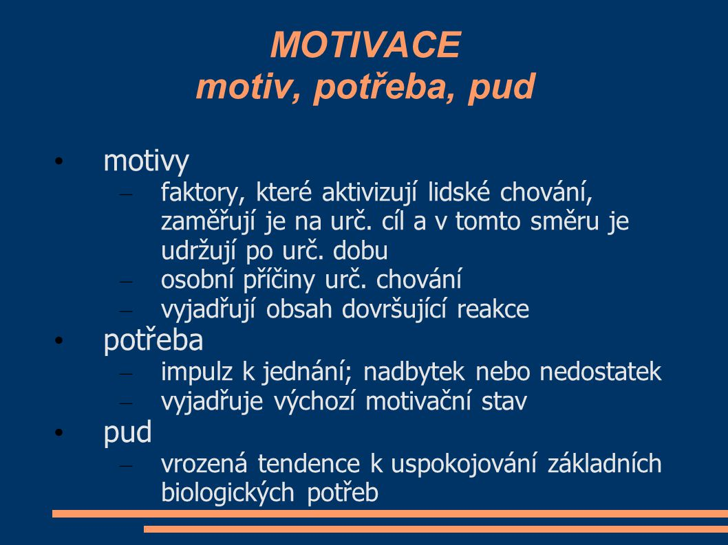 MOTIVACE motiv, potřeba, pud