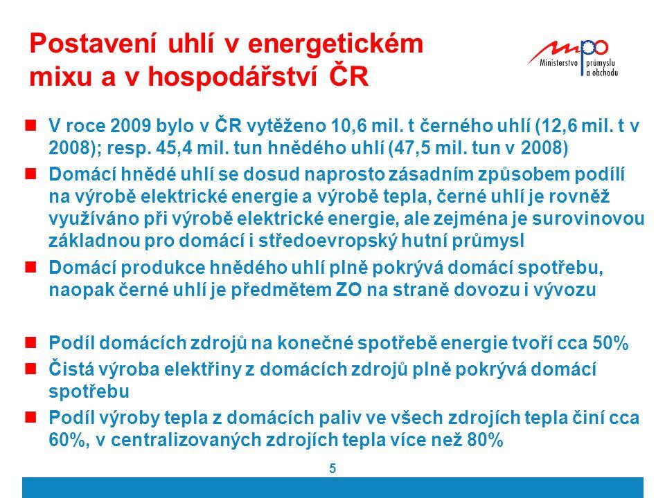 Postavení uhlí v energetickém mixu a v hospodářství ČR