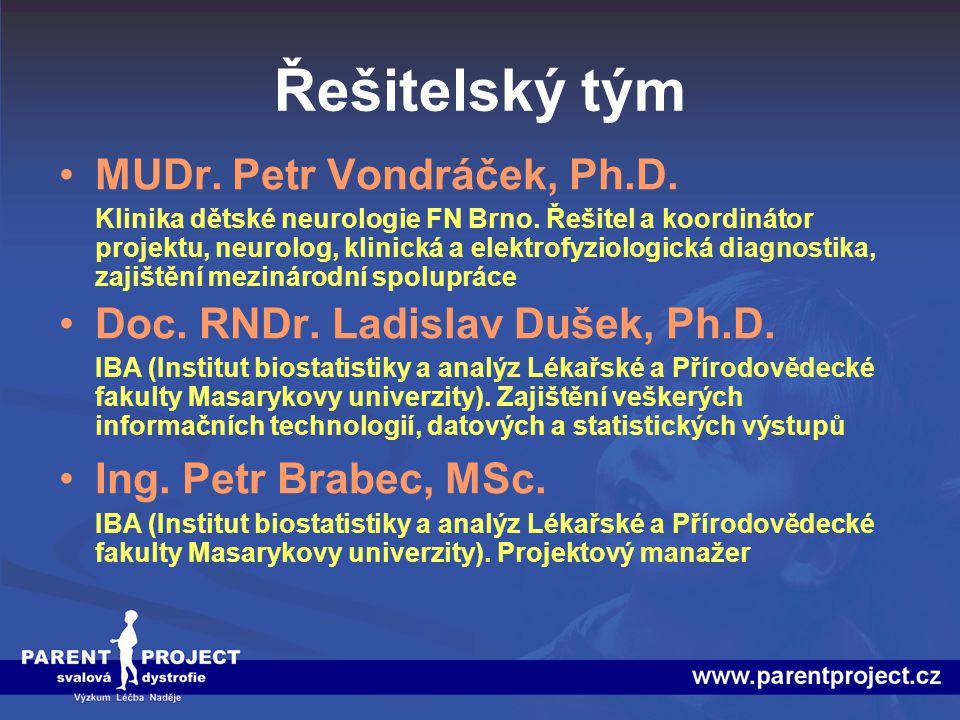 Řešitelský tým MUDr. Petr Vondráček, Ph.D.