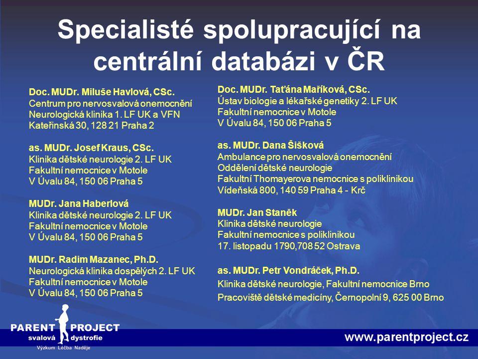 Specialisté spolupracující na centrální databázi v ČR