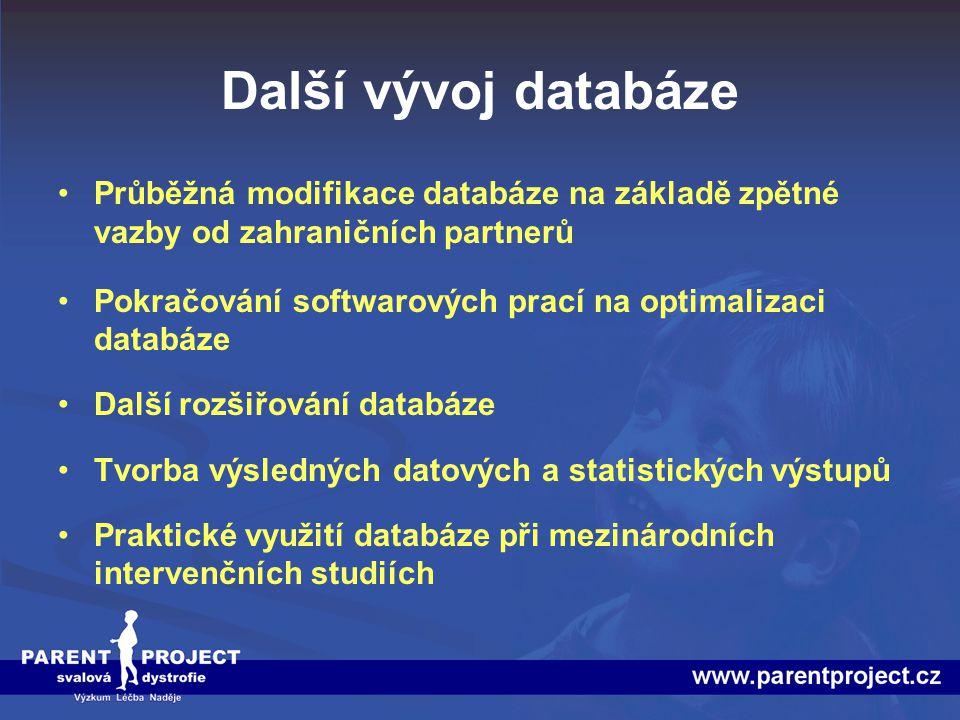 Další vývoj databáze Průběžná modifikace databáze na základě zpětné vazby od zahraničních partnerů.