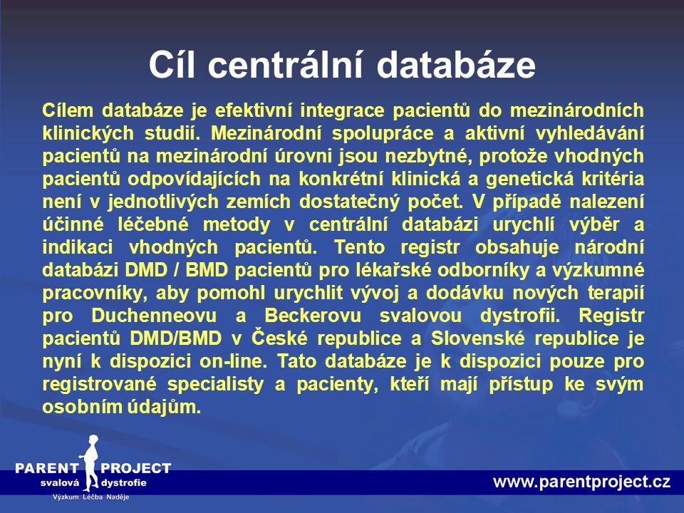 Cíl centrální databáze
