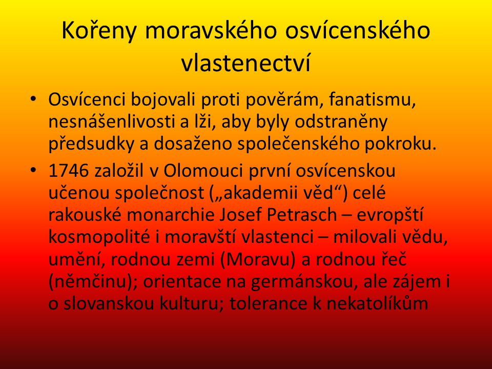 Kořeny moravského osvícenského vlastenectví