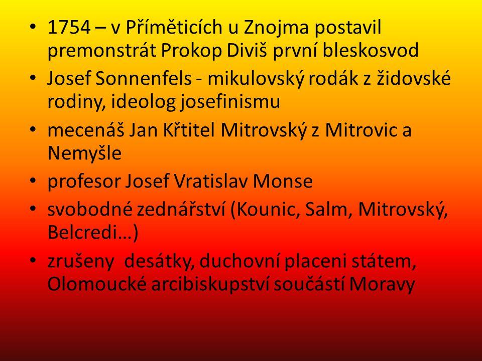 1754 – v Příměticích u Znojma postavil premonstrát Prokop Diviš první bleskosvod