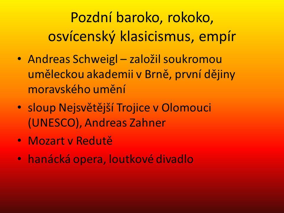 Pozdní baroko, rokoko, osvícenský klasicismus, empír