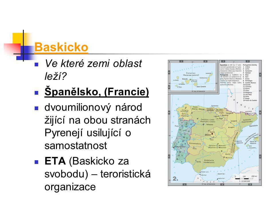 Baskicko Ve které zemi oblast leží Španělsko, (Francie)