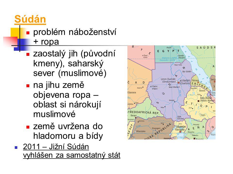 Súdán problém náboženství + ropa