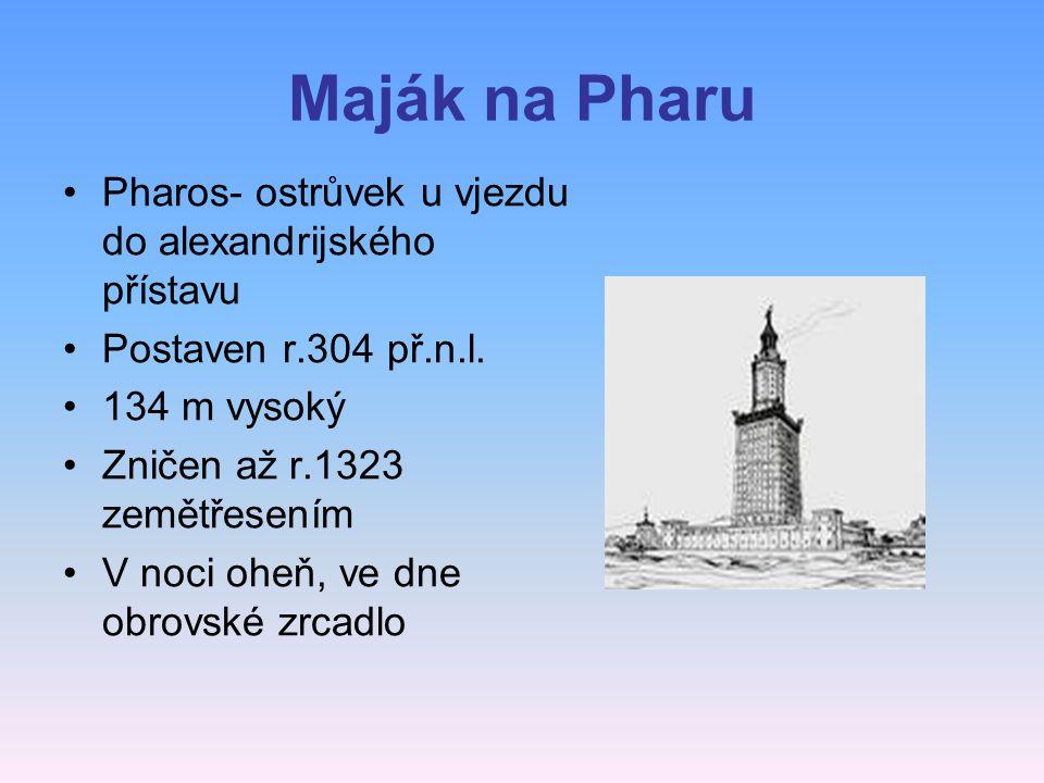 Maják na Pharu Pharos- ostrůvek u vjezdu do alexandrijského přístavu