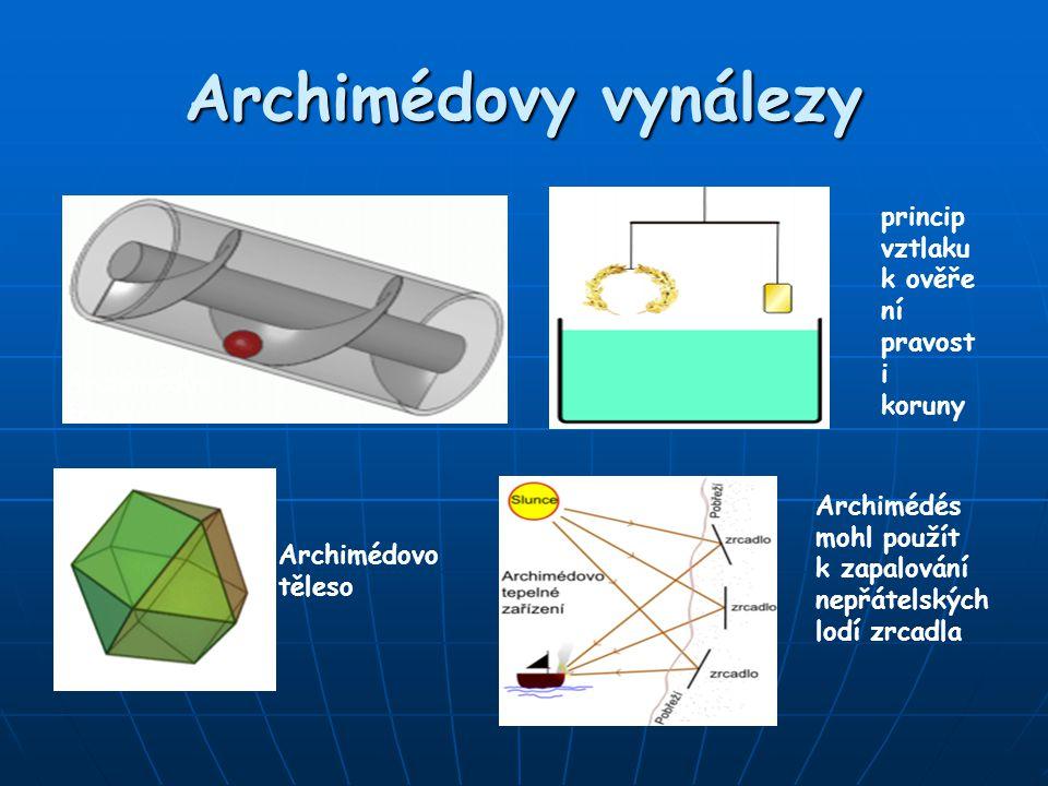 Archimédovy vynálezy princip vztlaku k ověření pravosti koruny