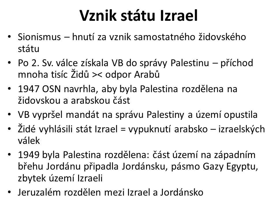 Vznik státu Izrael Sionismus – hnutí za vznik samostatného židovského státu.