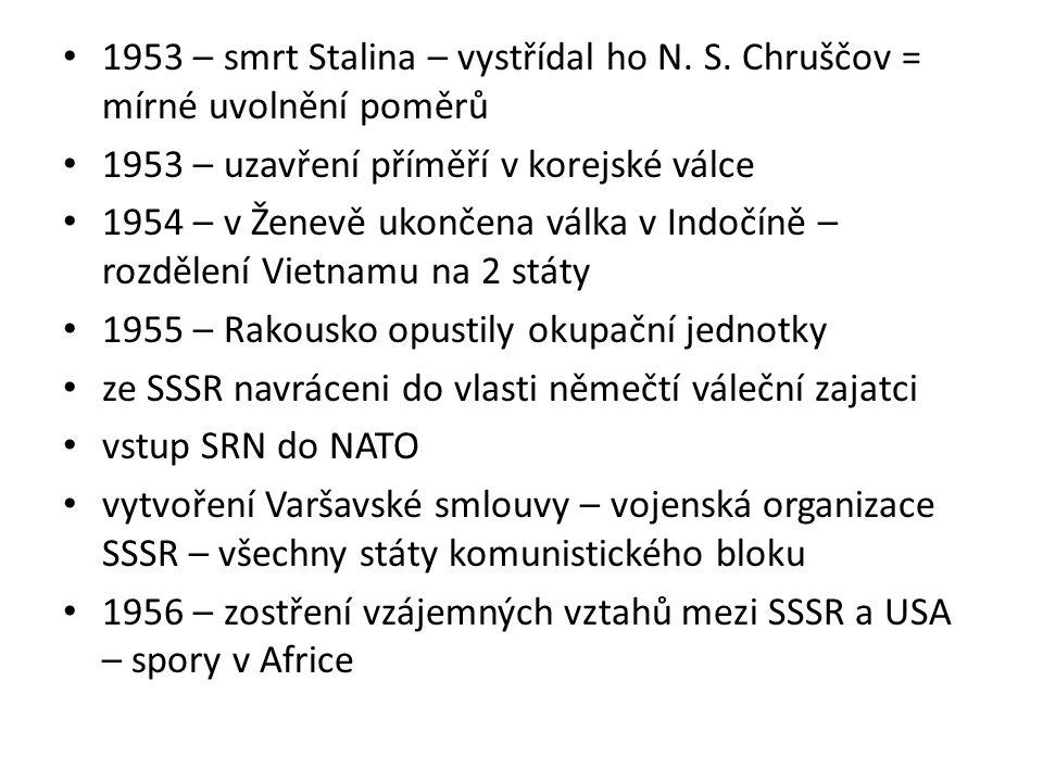 1953 – smrt Stalina – vystřídal ho N. S