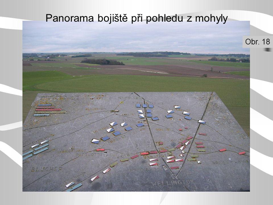 Panorama bojiště při pohledu z mohyly