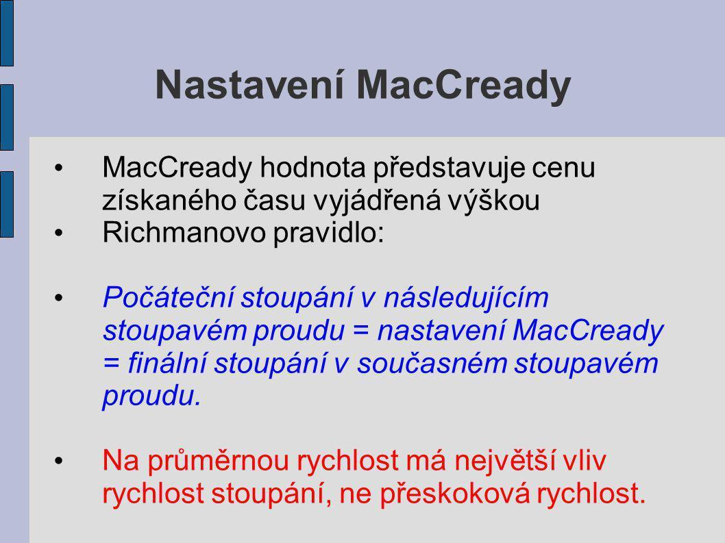 Nastavení MacCready MacCready hodnota představuje cenu získaného času vyjádřená výškou. Richmanovo pravidlo: