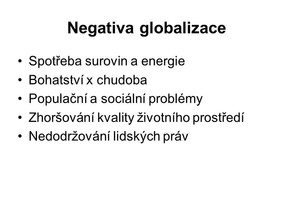 Negativa globalizace Spotřeba surovin a energie Bohatství x chudoba