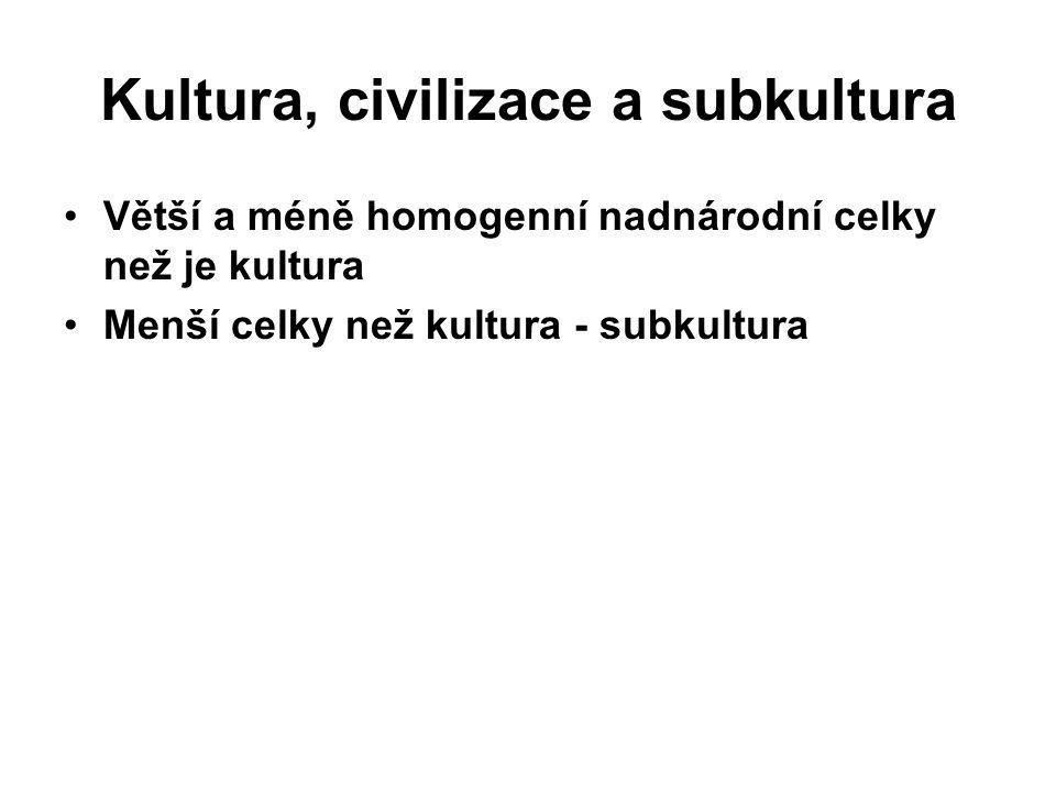 Kultura, civilizace a subkultura