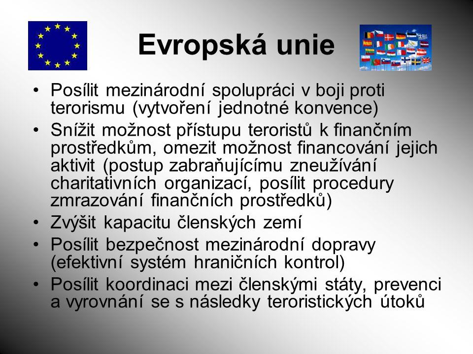 Evropská unie Posílit mezinárodní spolupráci v boji proti terorismu (vytvoření jednotné konvence)
