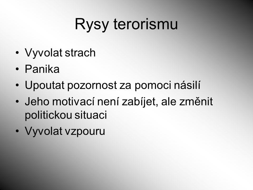 Rysy terorismu Vyvolat strach Panika
