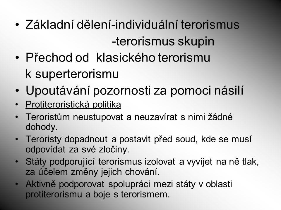 Základní dělení-individuální terorismus -terorismus skupin