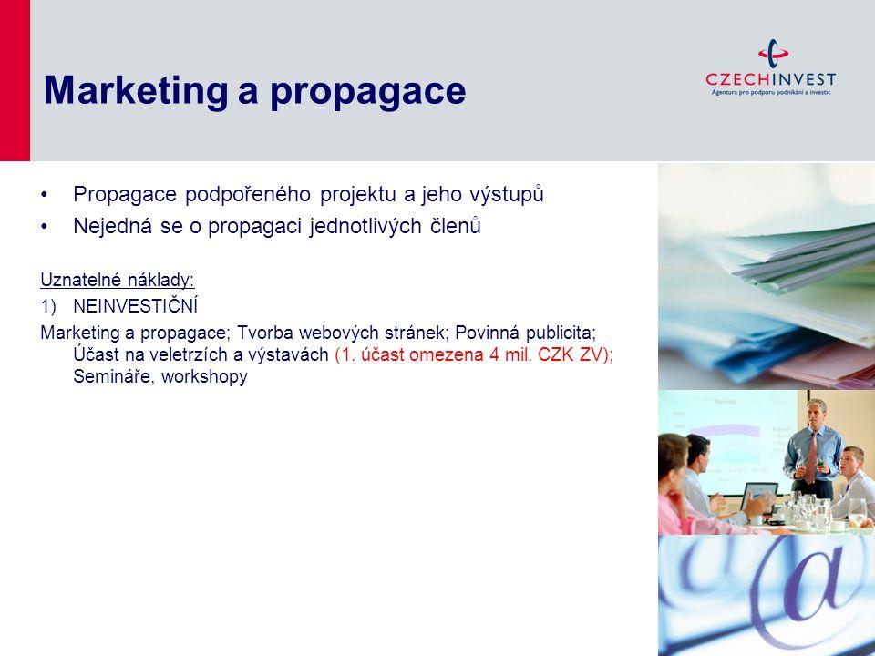 Marketing a propagace Propagace podpořeného projektu a jeho výstupů