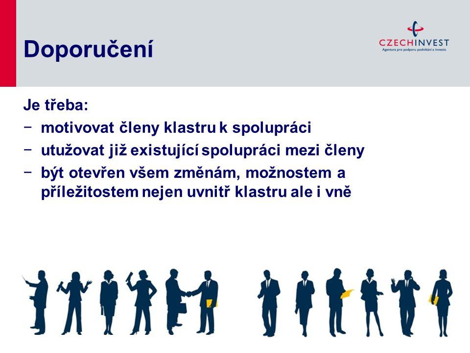 Doporučení Je třeba: motivovat členy klastru k spolupráci