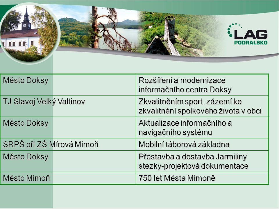 Město Doksy Rozšíření a modernizace informačního centra Doksy. TJ Slavoj Velký Valtinov.