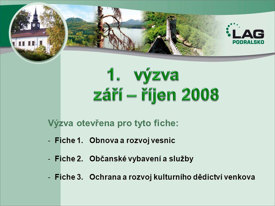 výzva září – říjen 2008 Výzva otevřena pro tyto fiche: