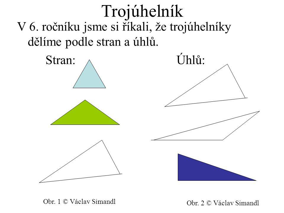 Trojúhelník V 6. ročníku jsme si říkali, že trojúhelníky dělíme podle stran a úhlů. Stran: Úhlů: