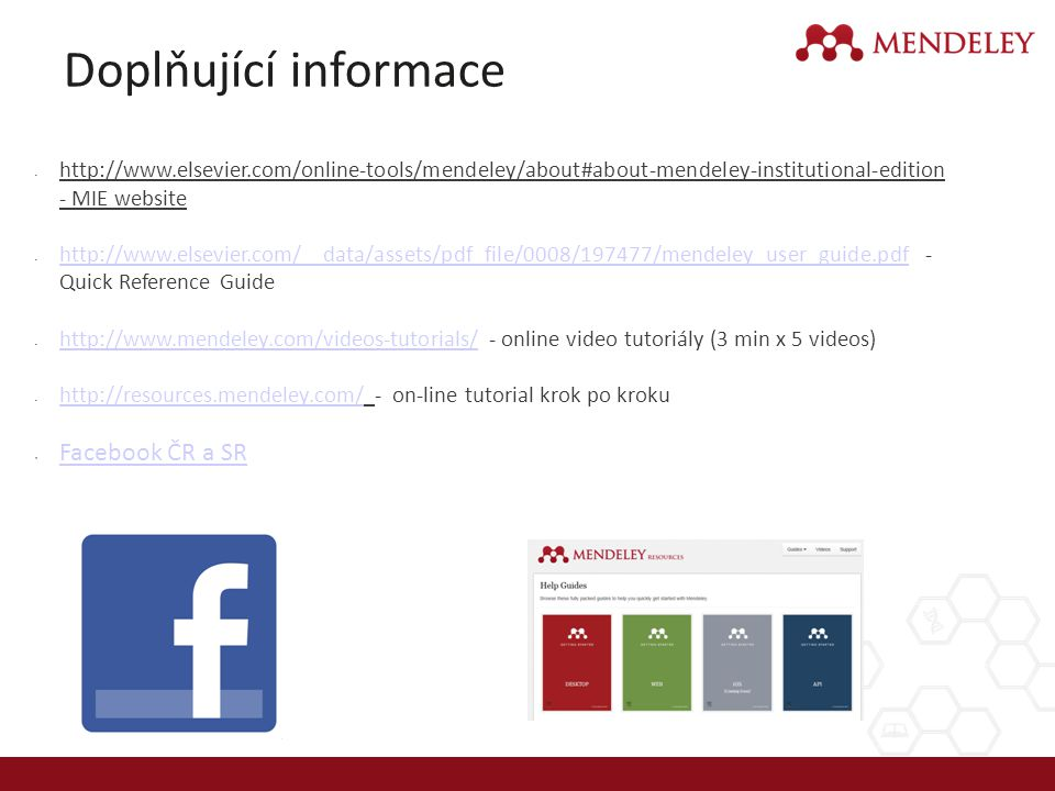 Doplňující informace Facebook ČR a SR