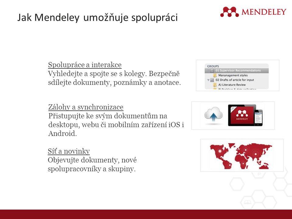 Jak Mendeley umožňuje spolupráci