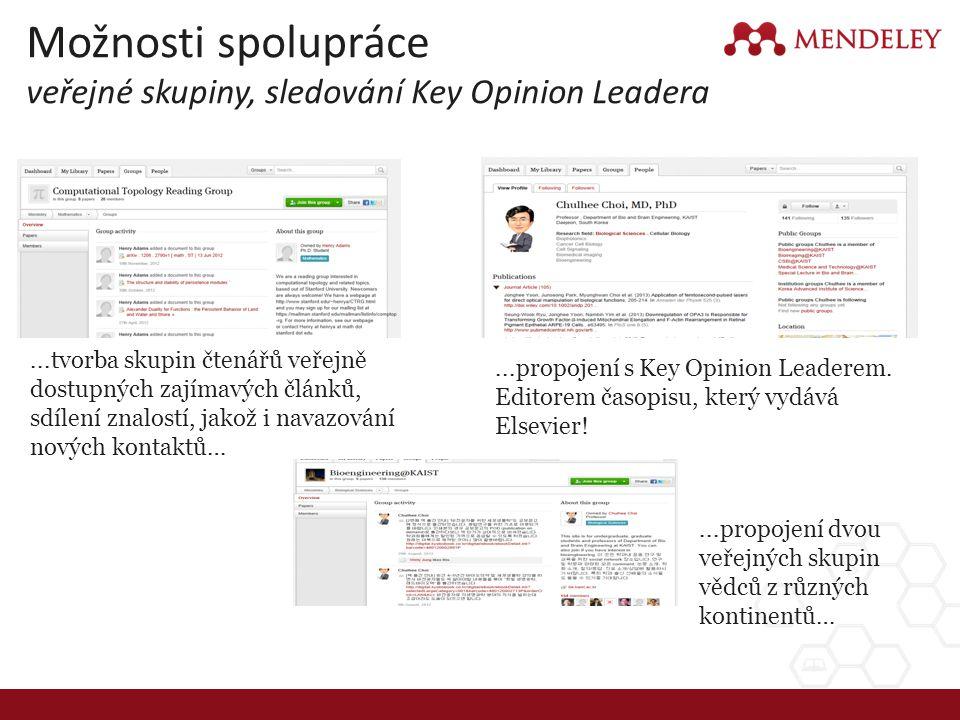 Možnosti spolupráce veřejné skupiny, sledování Key Opinion Leadera