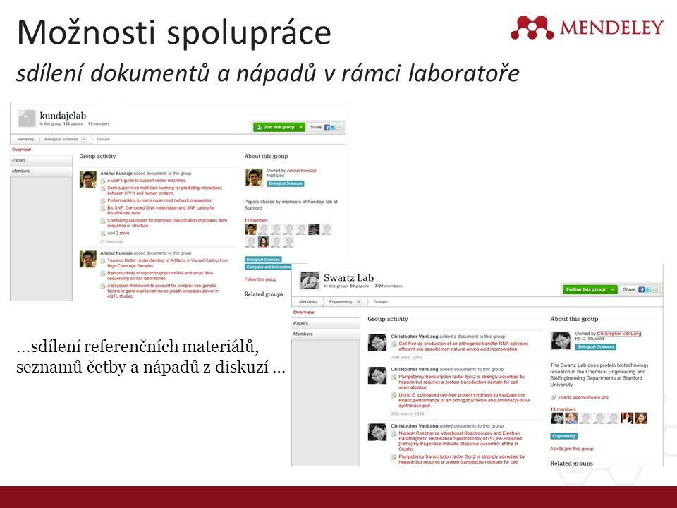 Možnosti spolupráce sdílení dokumentů a nápadů v rámci laboratoře