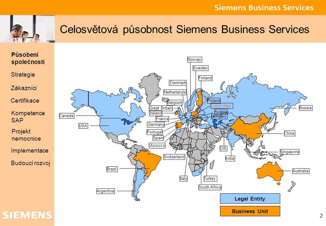 Celosvětová působnost Siemens Business Services