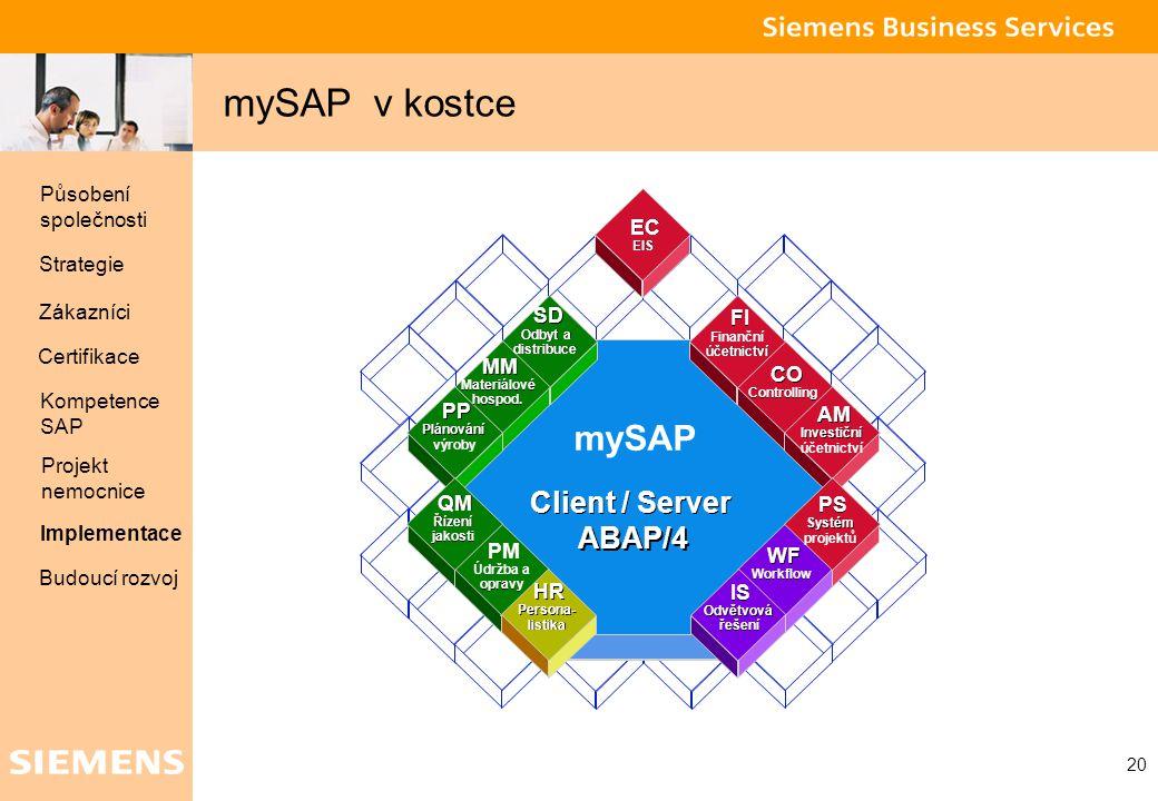 mySAP v kostce mySAP Client / Server ABAP/4 Působení společnosti EC