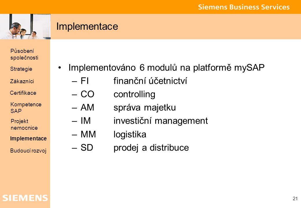 Implementace Implementováno 6 modulů na platformě mySAP