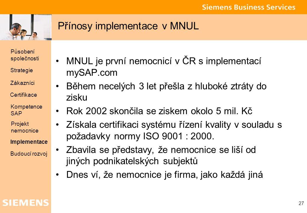 Přínosy implementace v MNUL