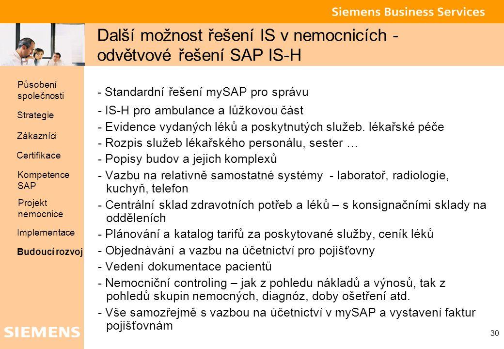 Další možnost řešení IS v nemocnicích - odvětvové řešení SAP IS-H