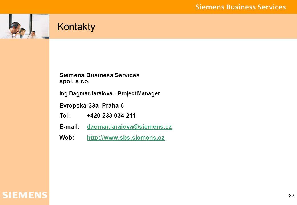 Kontakty Siemens Business Services spol. s r.o. Evropská 33a Praha 6