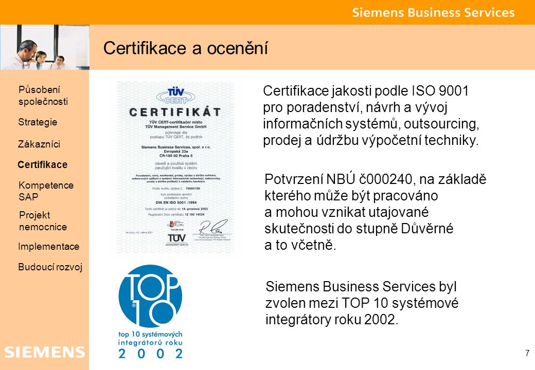 Certifikace a ocenění Působení společnosti.
