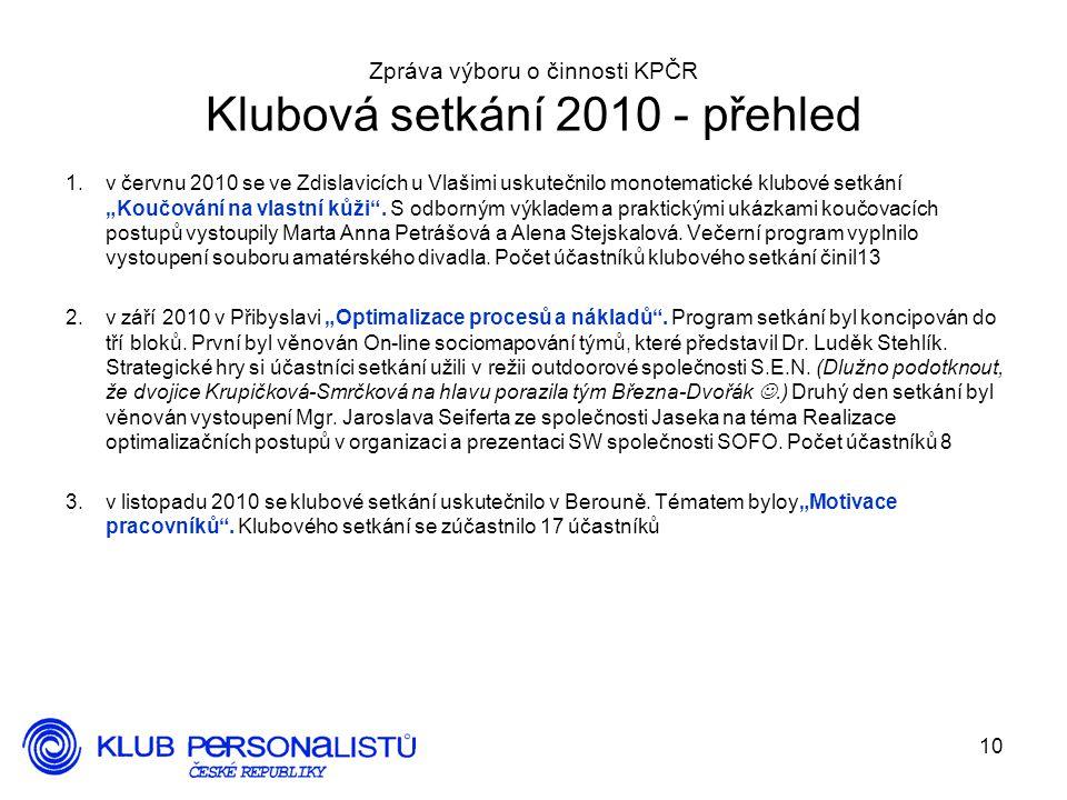 Zpráva výboru o činnosti KPČR Klubová setkání 2010 - přehled