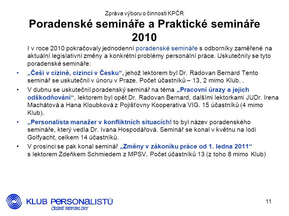 Zpráva výboru o činnosti KPČR Poradenské semináře a Praktické semináře 2010