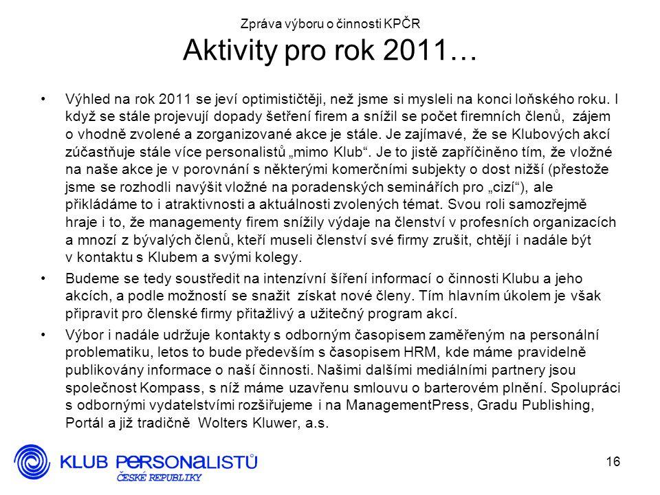 Zpráva výboru o činnosti KPČR Aktivity pro rok 2011…
