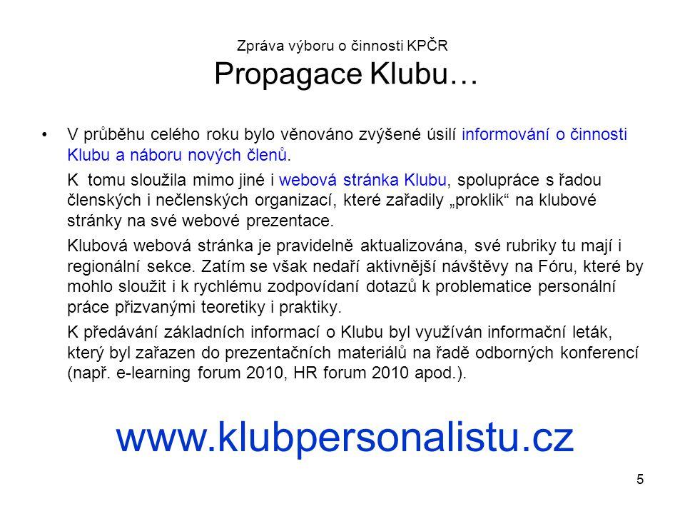 Zpráva výboru o činnosti KPČR Propagace Klubu…
