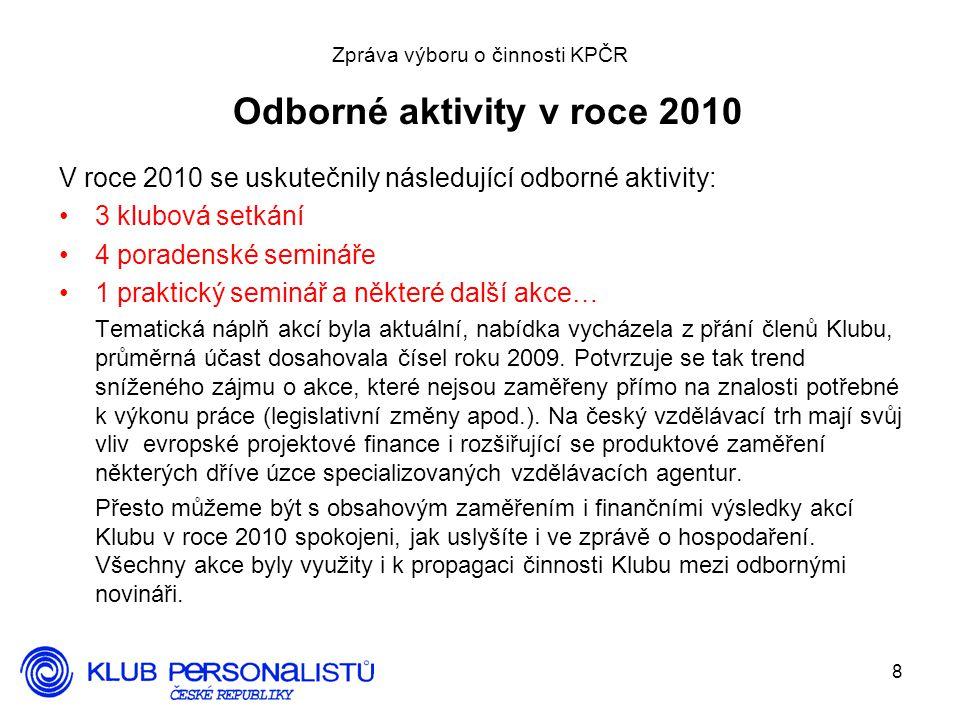 Zpráva výboru o činnosti KPČR Odborné aktivity v roce 2010
