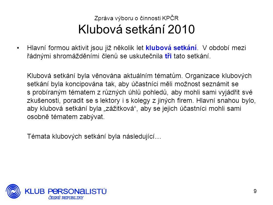 Zpráva výboru o činnosti KPČR Klubová setkání 2010