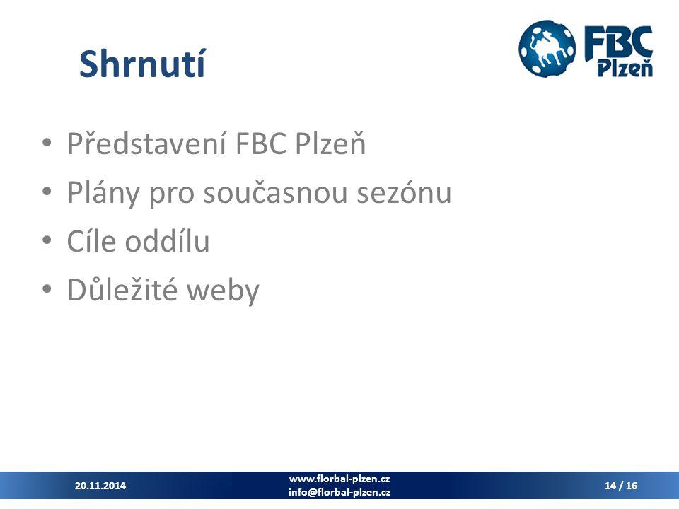 Shrnutí Představení FBC Plzeň Plány pro současnou sezónu Cíle oddílu