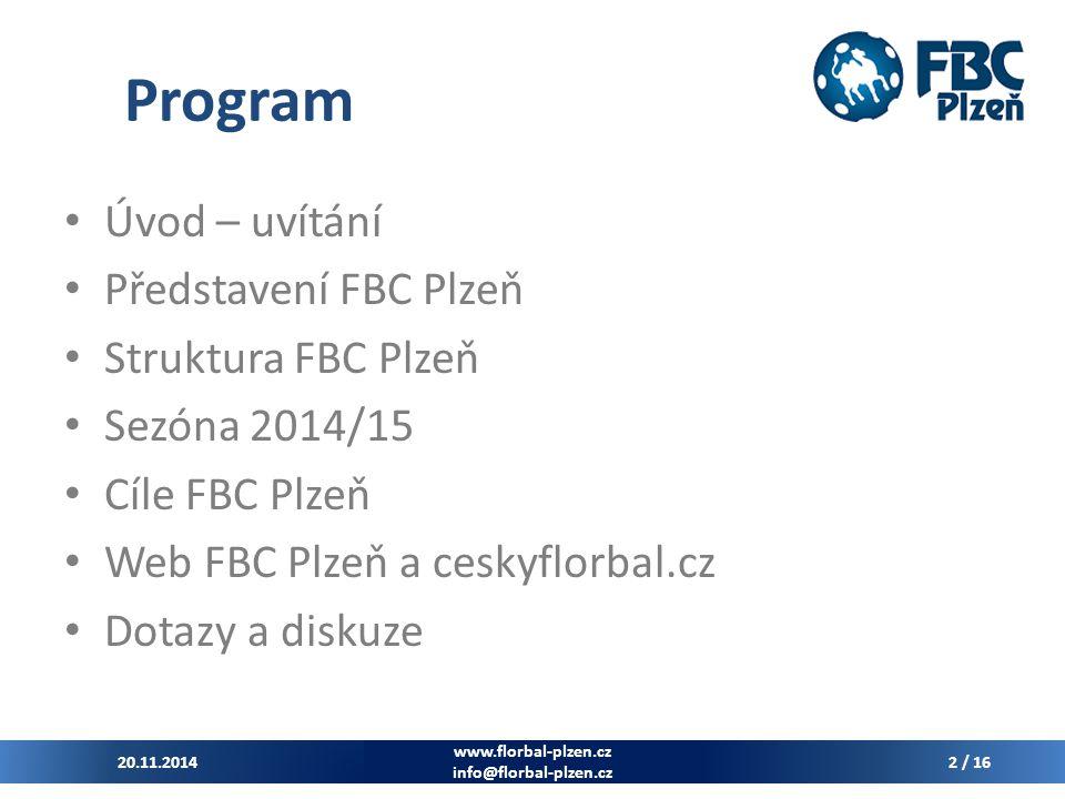 Program Úvod – uvítání Představení FBC Plzeň Struktura FBC Plzeň
