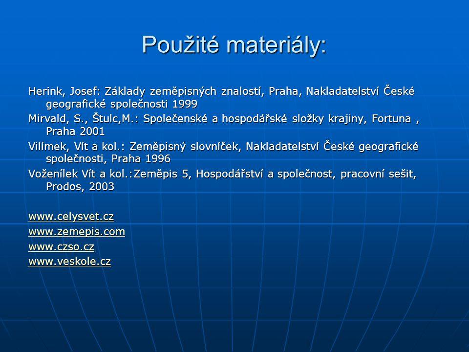 Použité materiály: Herink, Josef: Základy zeměpisných znalostí, Praha, Nakladatelství České geografické společnosti 1999.