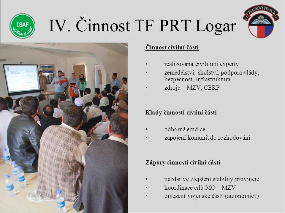 IV. Činnost TF PRT Logar Činnost civilní části