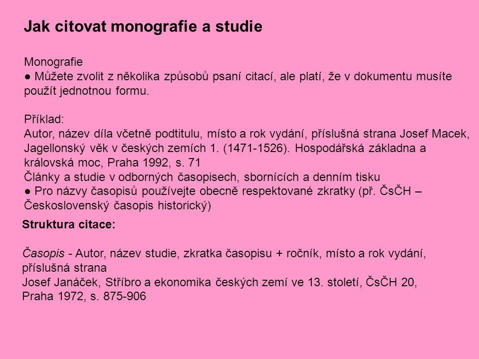 Jak citovat monografie a studie