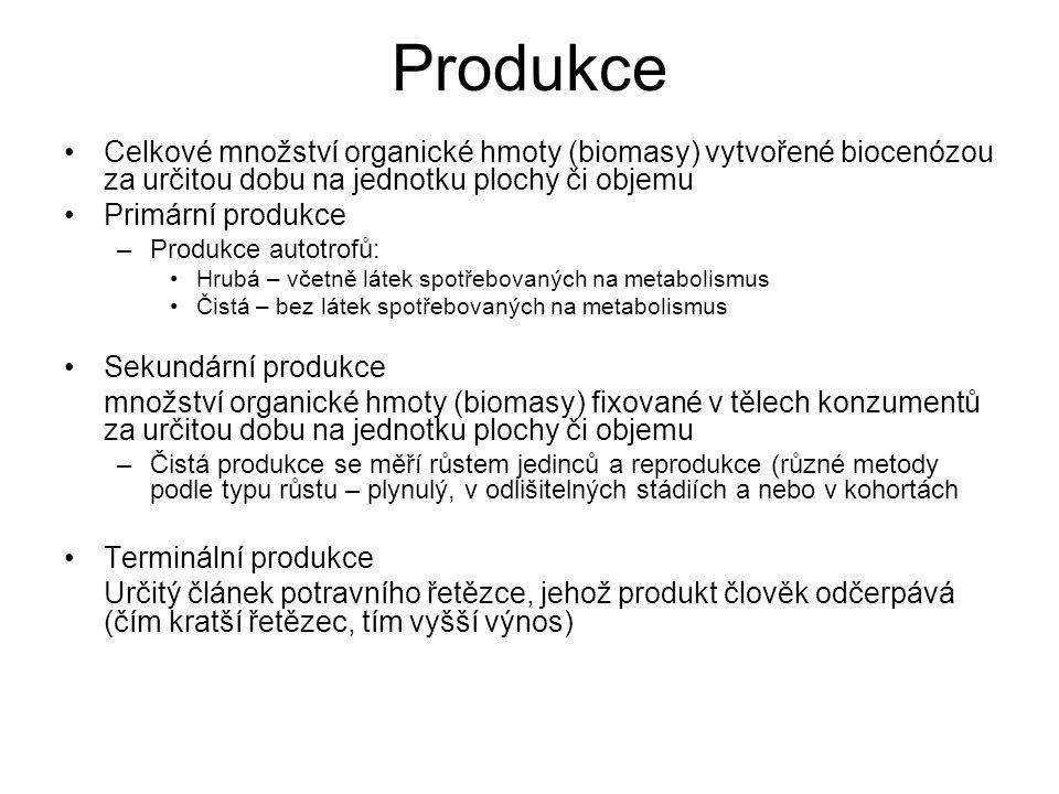 Produkce Celkové množství organické hmoty (biomasy) vytvořené biocenózou za určitou dobu na jednotku plochy či objemu.